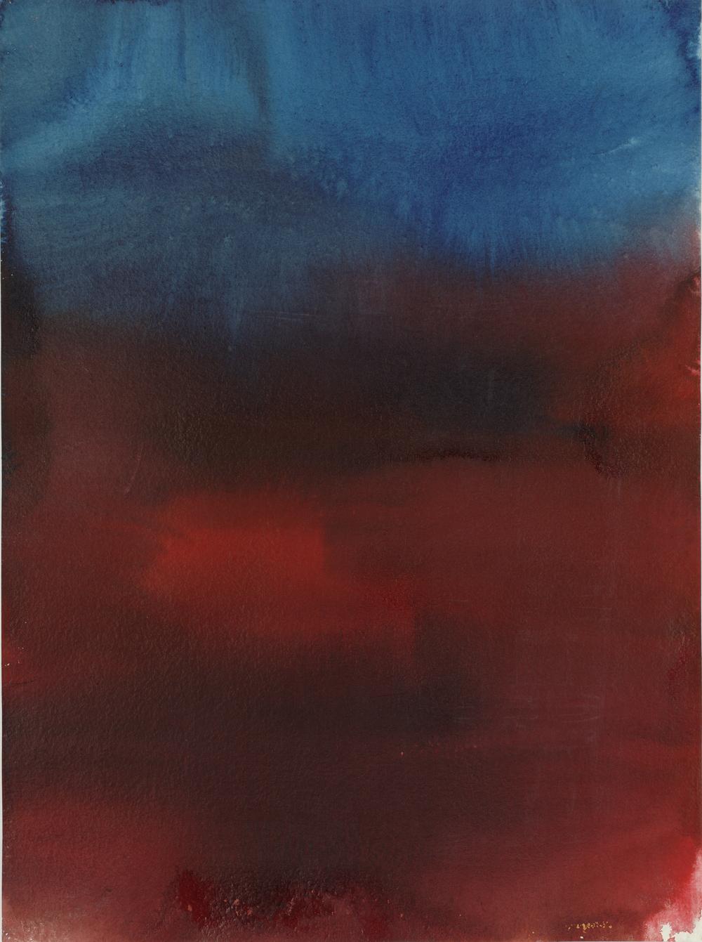 HERBERT BRANDL ROT / BLAU, 1999  Aquarell auf Papier Schenkung Sammlung Plone