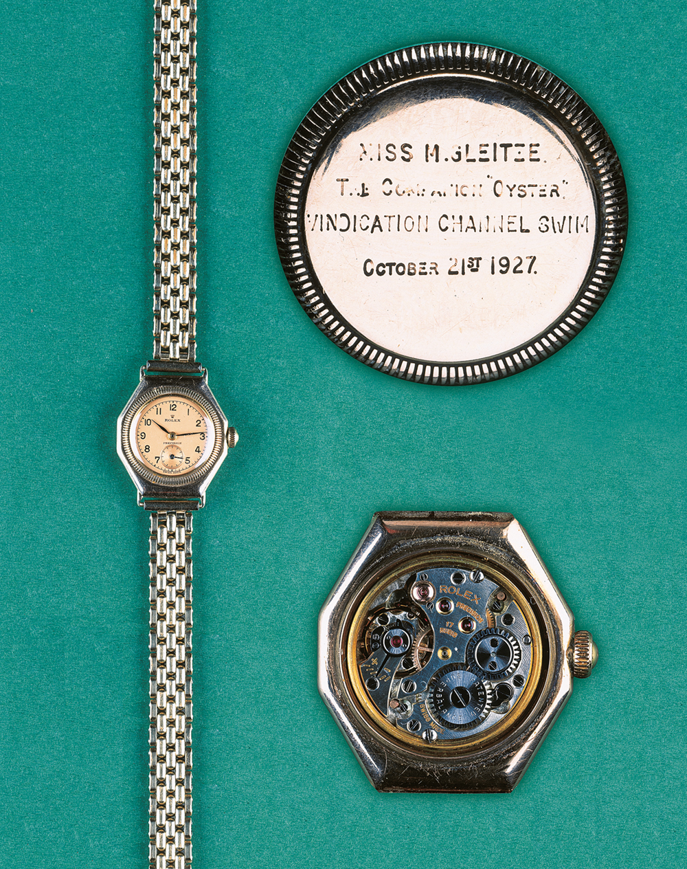 Oyster Precision, 1926:  Mercedes Gleitze wore this watch when she swam across the English Channel on October 21, 1927  Photo © Christie's, Geneva