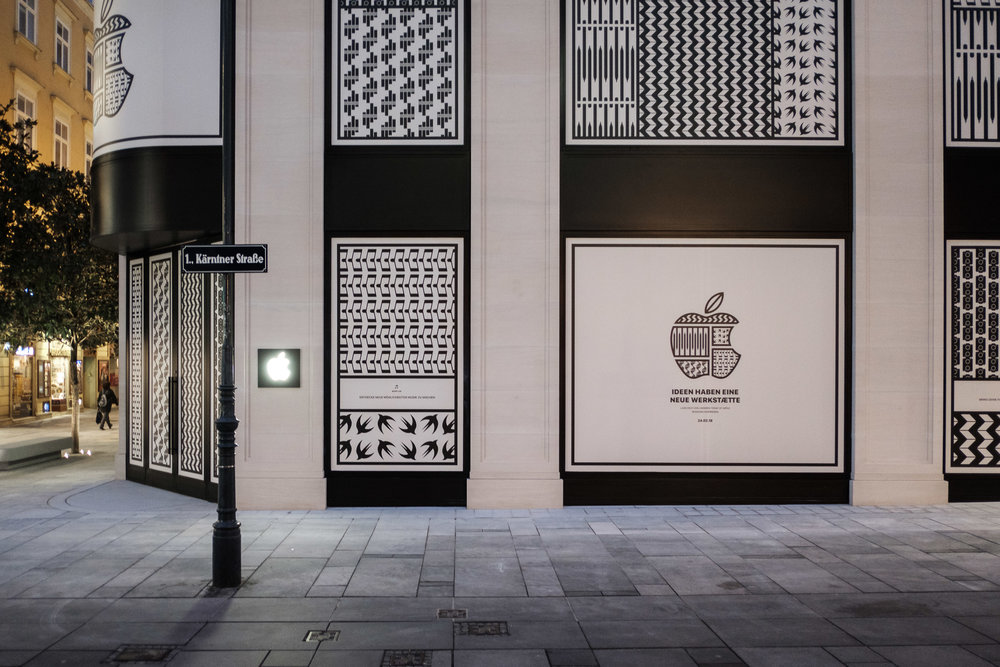 VIENNA, AUSTRIA - FEBRUARY 01: Apple announces it's first store in Vienna, opening on February 24, with a custom vinyl seen on February 1, 2018 in Vienna, Austria. (Photo by Stefan Fuertbauer/Getty Images for Apple)