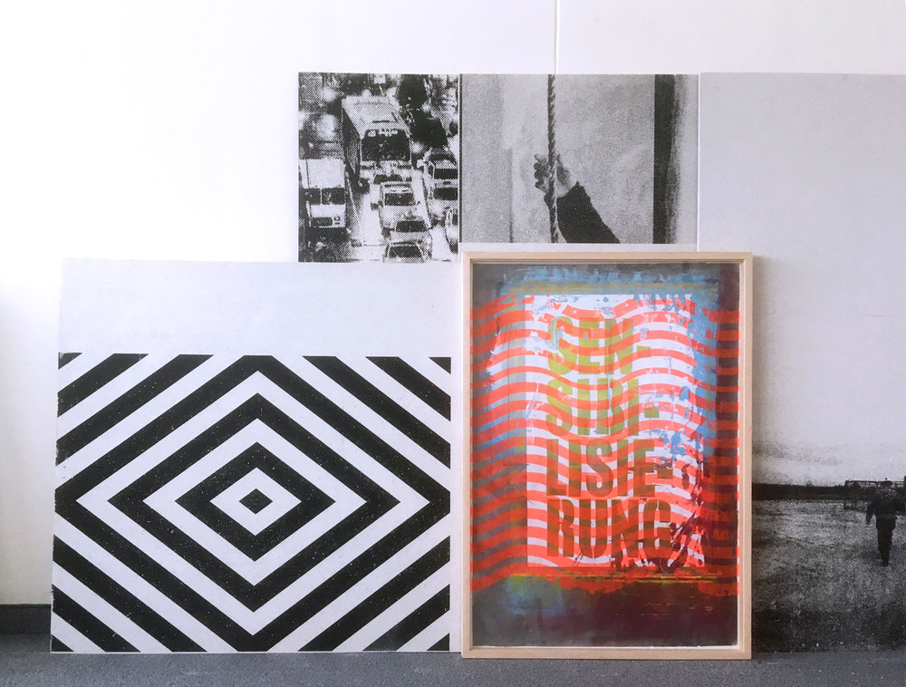 "Michael Wegerer  ""Maze"", 2017/18  Assemblage, Siebdruck, Gipsplatten, Glas, Papier,  100x150cm  SerieMAze  (c) Michael Wegerer, Fotografin (c) Sabina Bundurus"