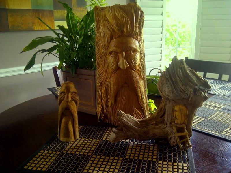 Wood Spirit, Face Carving and Fairy Door