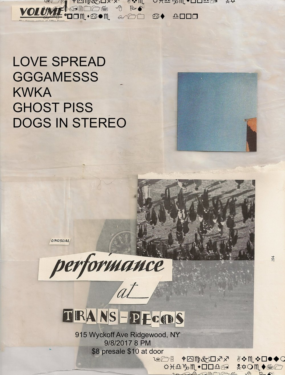 LOVE SPREAD:  http://www.lovespread.tokyo/   GGGAMESSS:  https://colossalsquidrecords.bandcamp.com/album/everything-you-want-nothing-you-need   Kwka:  https://nonexistantrecords.bandcamp.com/album/frontier   GHOST PISS:  https://soundcloud.com/missghostpiss   Dogs In Stereo:  https://dogsinstereo.bandcamp.com/   Poster by Heather Radford