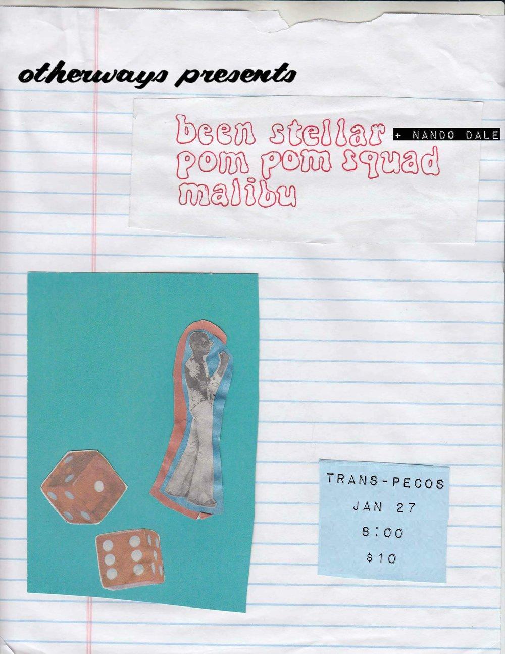 Otherways Presents-  Been Stellar + Nando Dale   https://open.spotify.com/artist/3ep1YmatQ8L9UKCGYiJNBh   https://open.spotify.com/artist/6tiYfbgTWLC4CwsYhCwnlL   Pom Pom Squad   https://pompomsquad.bandcamp.com/   Malibu NJ   https://open.spotify.com/album/2w6qykr00kLZTQVNwKKWLE