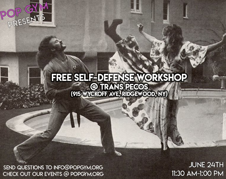 """alm Heels for the people! Don't get that joke? No worries! Come by this FREE Pop Up workshop to learn some introductory skills that will keep you feeling safe. We'll be covering the basics: stretching, conditioning, technique, and theory, with the hope that participants will leave with some super useful foundations that will aid them in the day-to-day. Mix that in with some sweat and some movement, and you'll have an accessible and confidence-boosting good time for all. Whether you are a beginner, or someone with experience, come work it out with us!  Open to all ages! We'll be moving around, so participants should wear clothing in which they are comfortable stretching and sweating.  POP Gym is a new project, working towards opening a physical space in Brooklyn that offers free self-defense, fitness, and skill share classes 7 days a week. As we continue planning, we invite you to come by any of our events this summer! Our workshops have been described as, """"fun"""", """"holistic"""" and """"empowering"""", and for any questions, comments, or inquiries for future workshops for you or your organizations, email us at info@popgym.org  Check us out at  popgym.org !"""