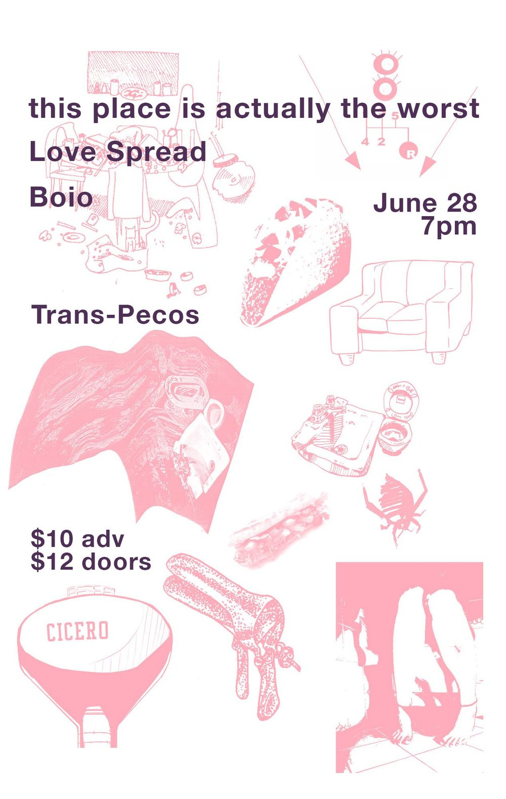 This place is actually the worst  record release with our friends  LOVE SPREAD  &  Boio . ♥  Trans-Pecos ALL AGES $10 adv $12 doors  Flyer features an art collage by our friends: Megan Arnold, Angie Moon Conte, Anthony Di Fazio, Jillian Flair, Aaron Garcia, Tanea Hynes, Emmanuel Reyes, Seth Scantlen, Phong Tran.  https://thisplaceisactuallytheworst.bandcamp.com/track/biggest-secrets-on-planet-earth