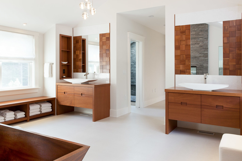 master bathroom with wooden tub