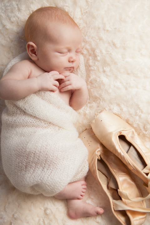We chose a pale pink, desaturated color scheme to enhance the ballerina theme we chose for this precious newborn baby girl