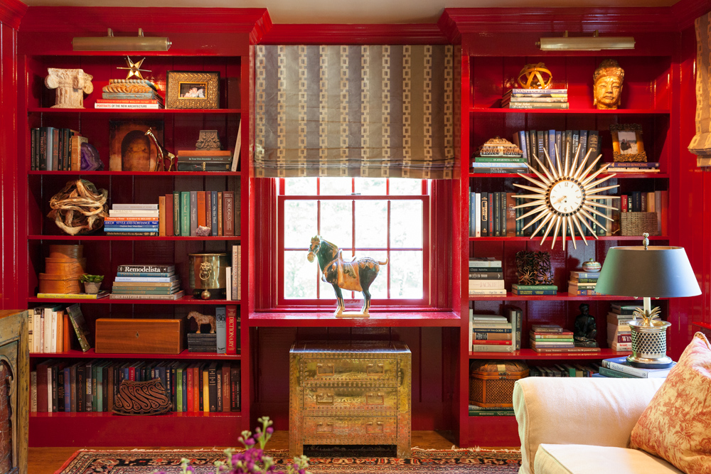 red-paint-custom-bookshelf-home-decor-sherborn-massachusetts