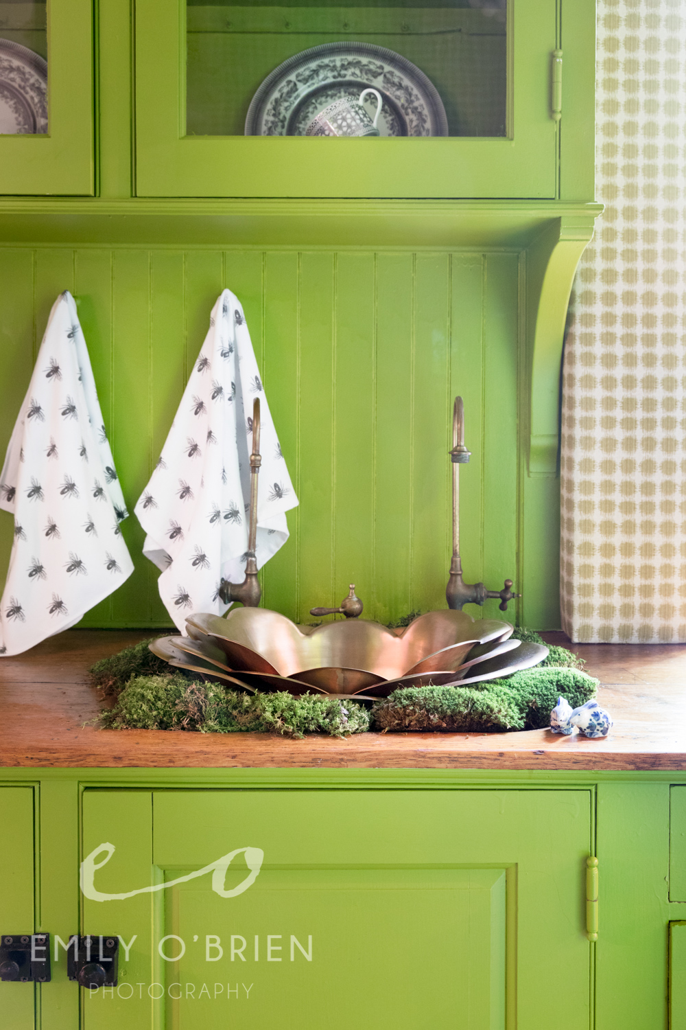 @kimmacumber my good friend and client has a room in the @Bostonshowhouse this year! I love everything about this butler pantry sink area - the copper petals, the faucet, the moss, the fly towels, and especially the little porcelein bunnies. Congrats Kim, your butler's pantry is a class act