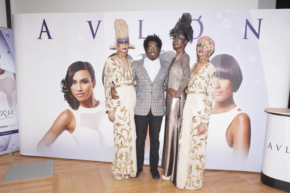 Legendary hairstylist Desmond Murray pictured with the models