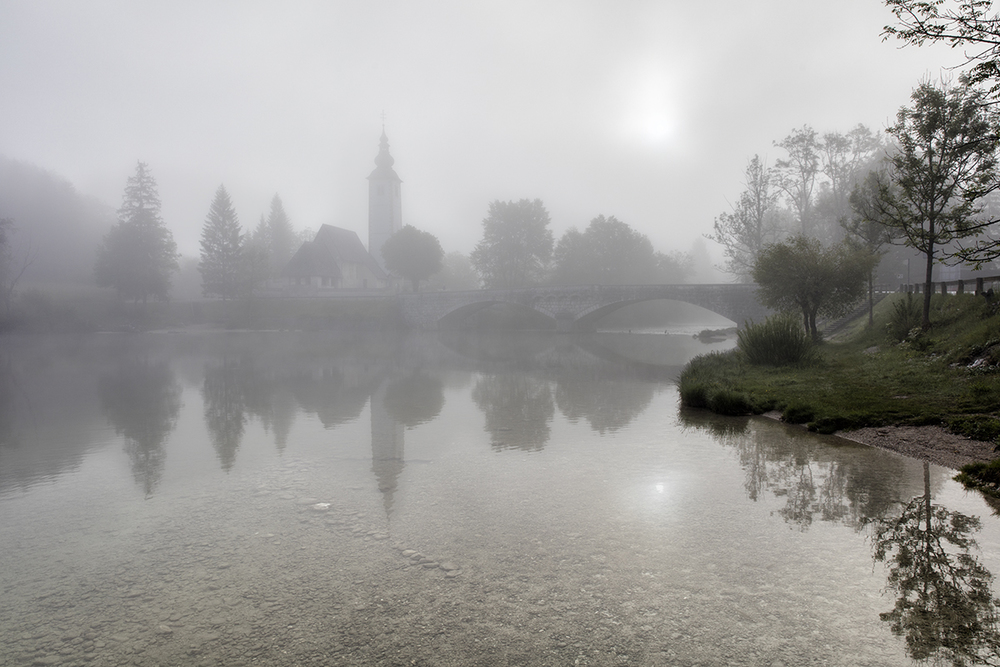 Misty Morning Lake Bohinj Slovenia