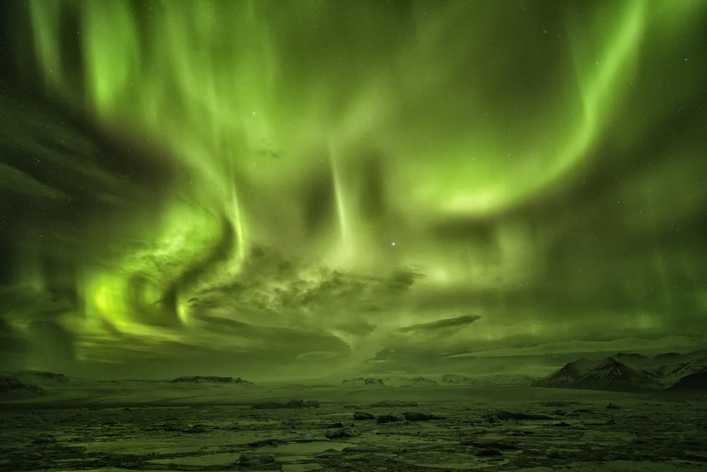 Aurora at Jokulsarlon Iceland