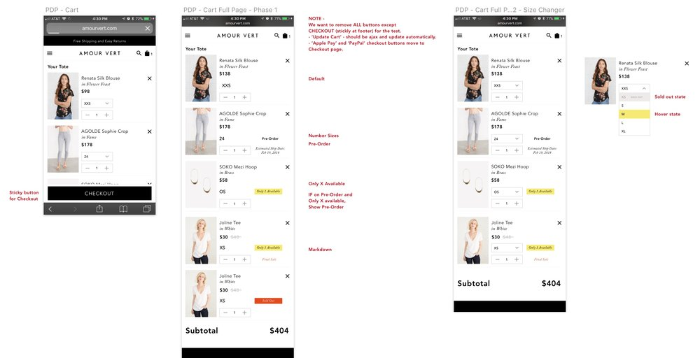 Annotated mobile comps of cart, including different states.