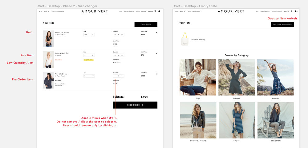 Annotated mobile comps of cart for Desktop.