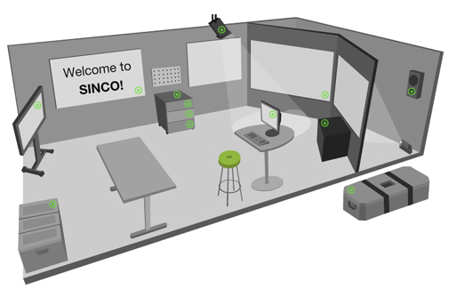 SINCO Lab prototyping space: two back projectors with speakers, two touch whiteboards, low-fi props etc.
