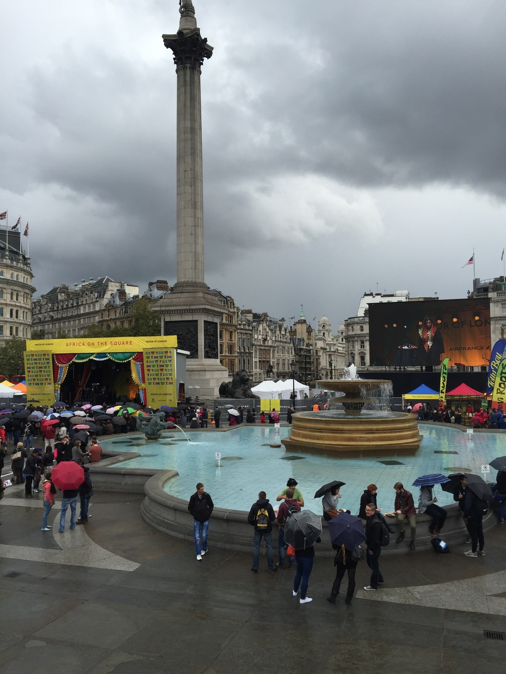 It was drizzling from Trafalgar Square.
