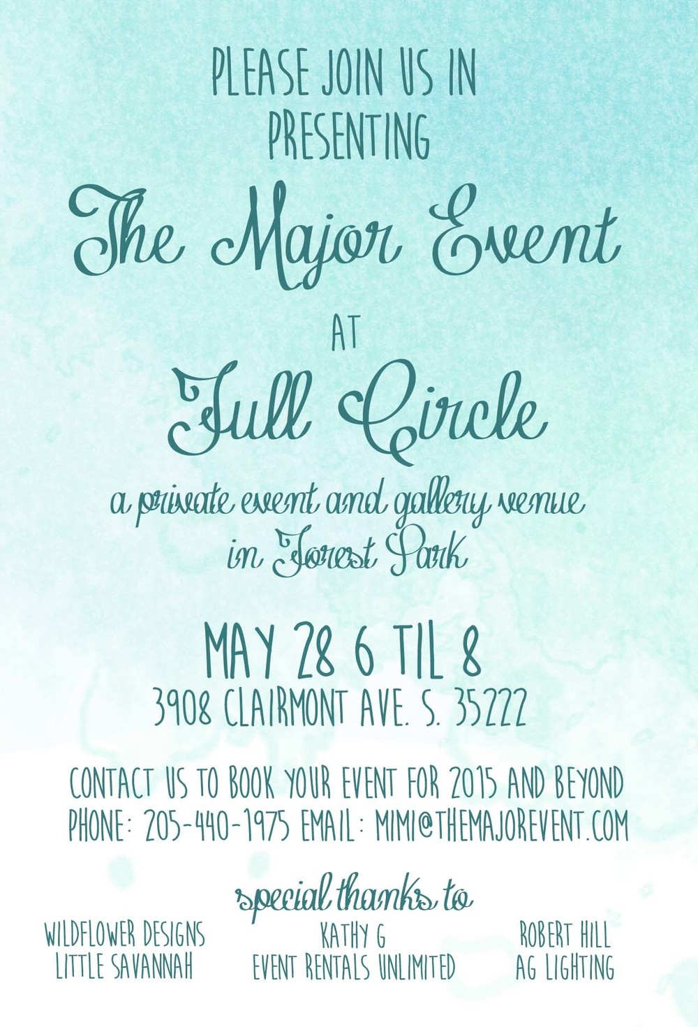 Full Circle is teaming up with The Major Event to bring you a new Birmingham event space! We are so excited to offer this space for wedding events, corporate meetings, charity luncheons or fundraisers, birthday parties, book signings, gallery space, pop-up shops, workshops and more! We hope you and your friends will join us this Thursday to celebrate and view the space.
