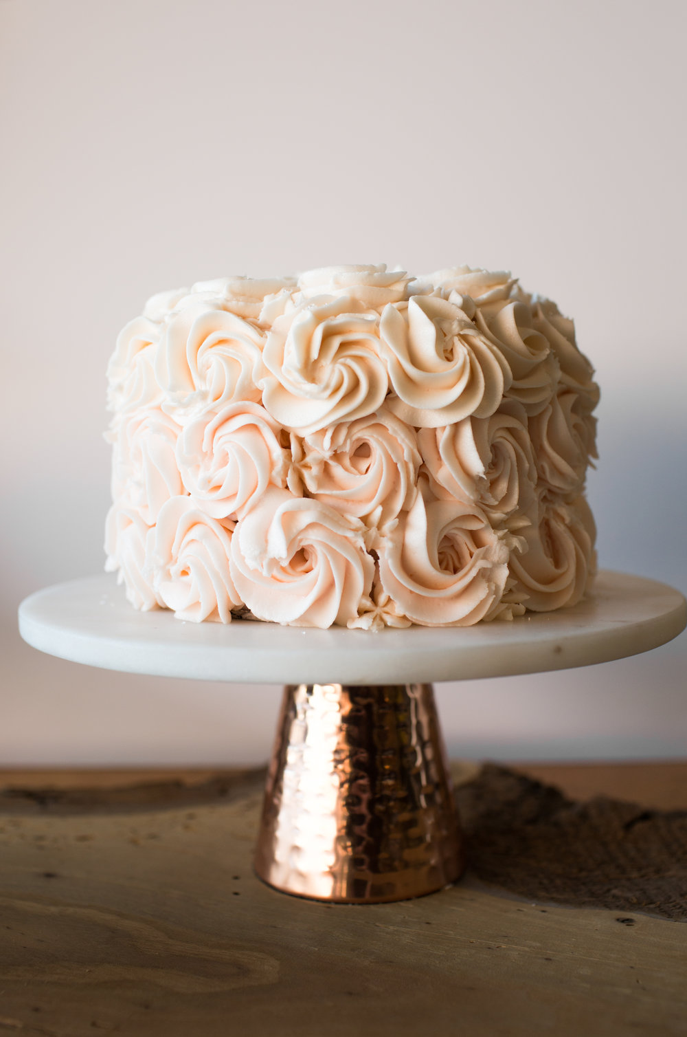 pink champagne cake w/ white buttercream