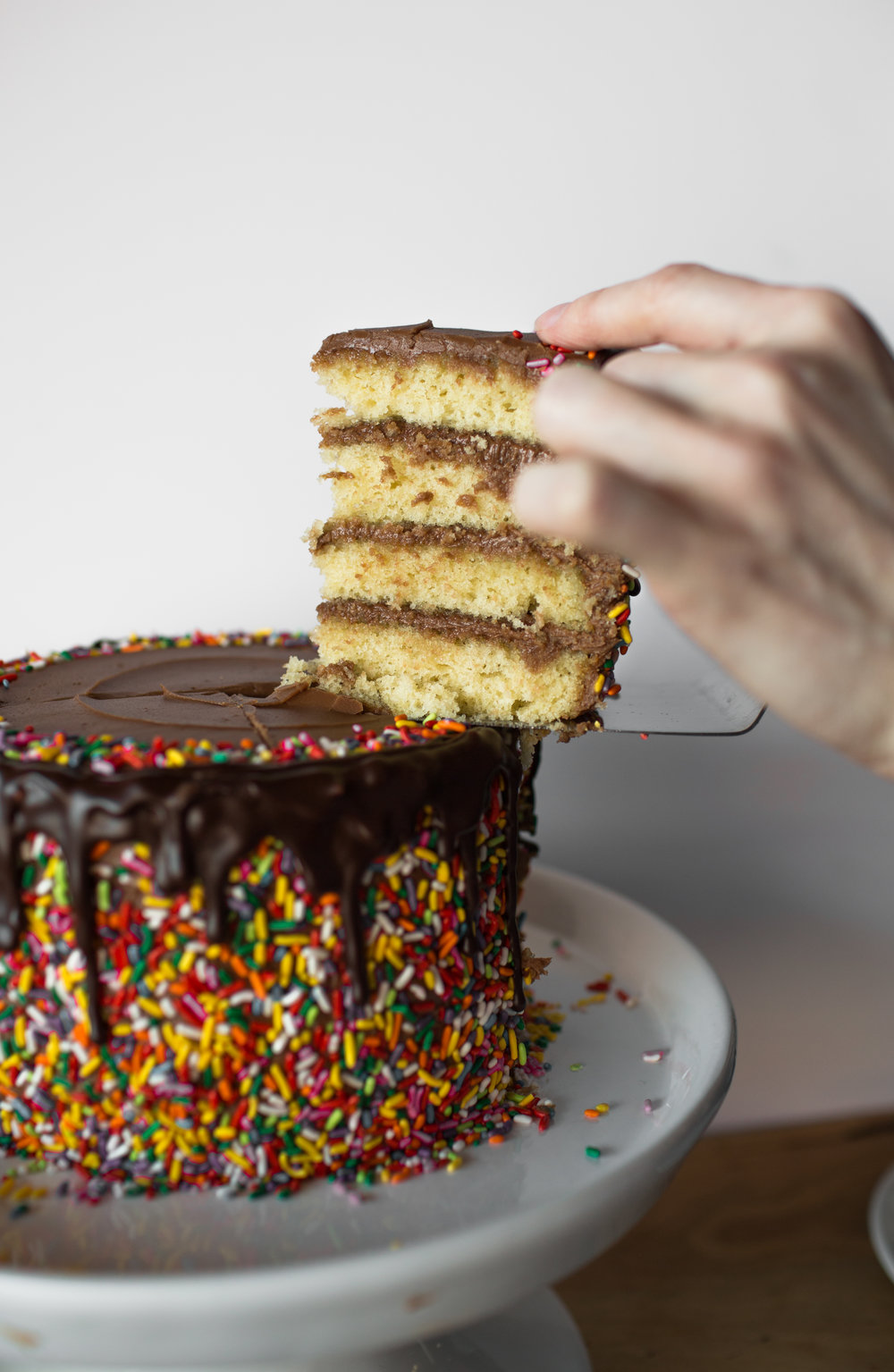 yellow cake w/ chocolate buttercream, sprinkles, and ganache.