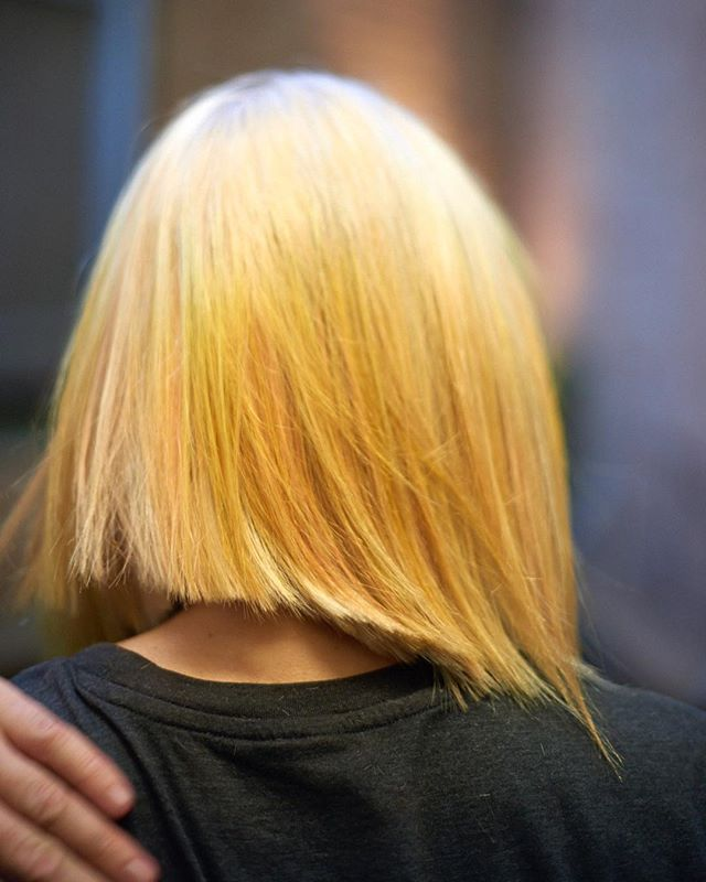 We 💛this blonde Long Bob (#Lob). A lob can be layered or curled for texture. But it's at its most sophisticated when it's sleek and blunt! ———— To Book: ☎️Hackney: 44 207 254 1499. 📞Greenpoint: 347 335 0666. 💻kennaland.com