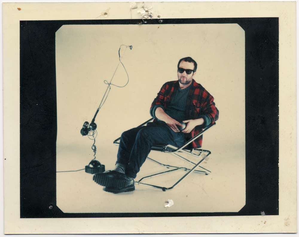 This is a polaroid of Ron with his famous 'Aerial' lamp in a 'previous incarnation' shot in my first Shoreditch studio
