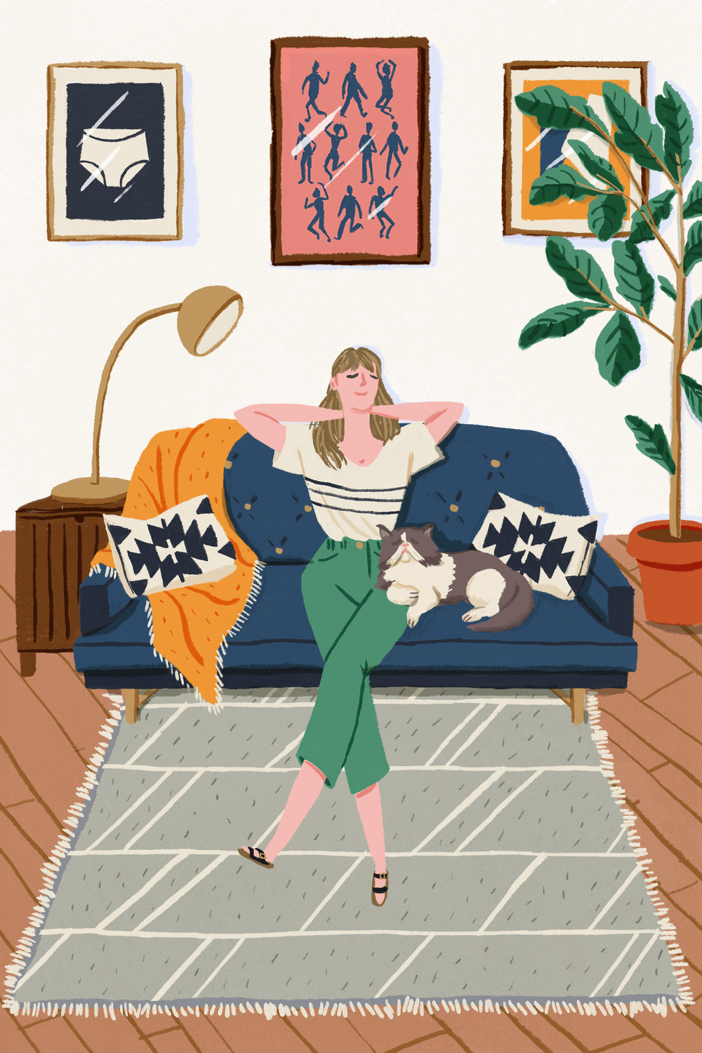 "Illustration to accompany ""Why I Decided Not to Move in With My Boyfriend"" for  Man Repeller , 2018. See the article  here ."