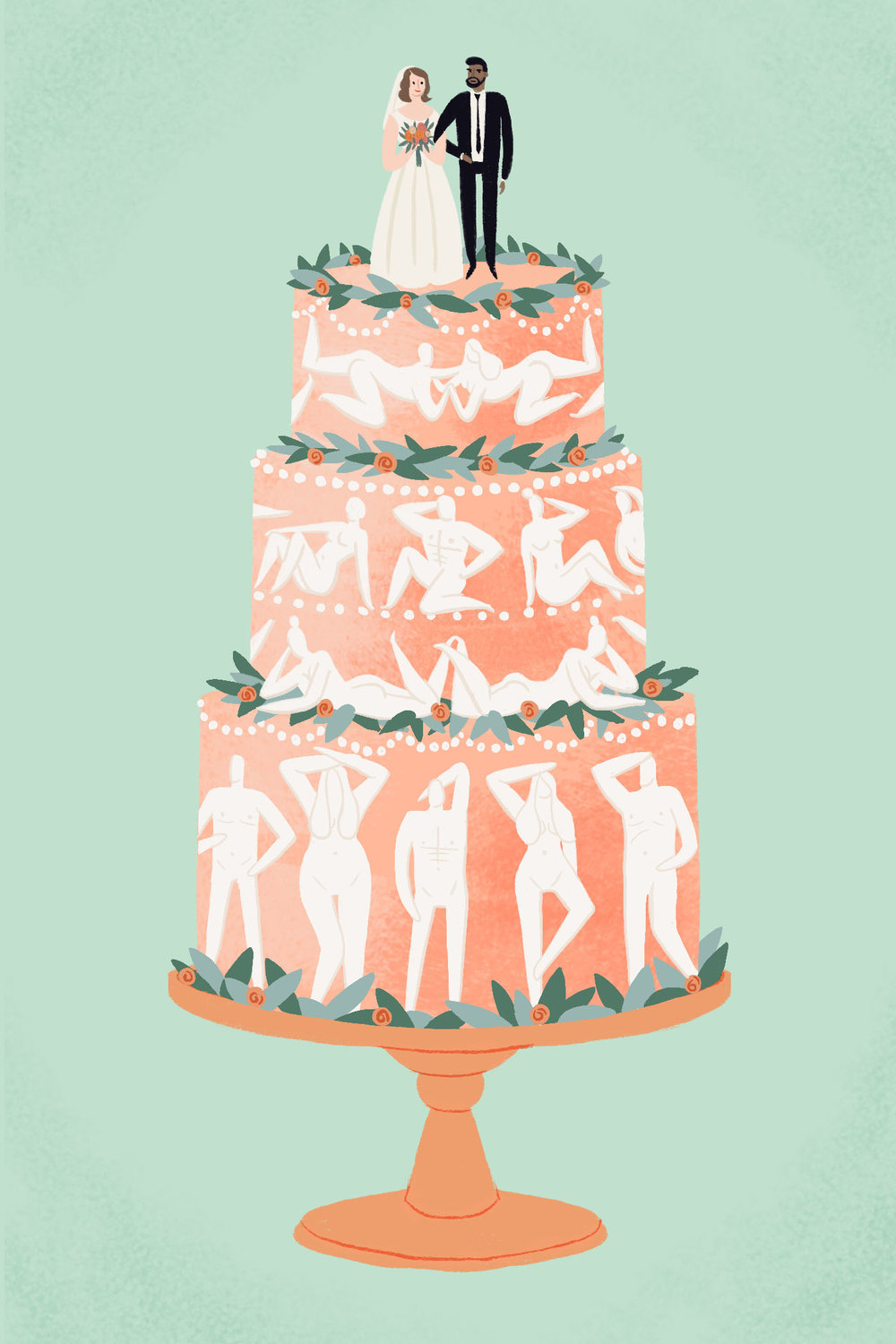 "Illustration to accompany ""The Wedding Hookup: An Overstated Stereotype or Very Much a Thing?"" for  Man Repeller , 2018. See the article  here ."