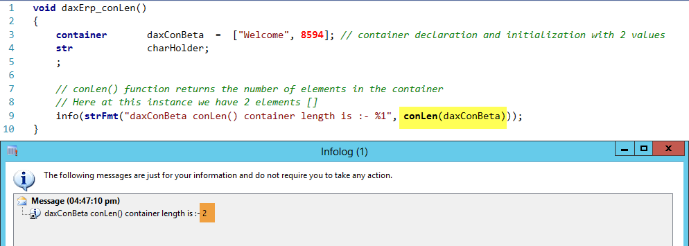 Dynamics AX Container conLen Function