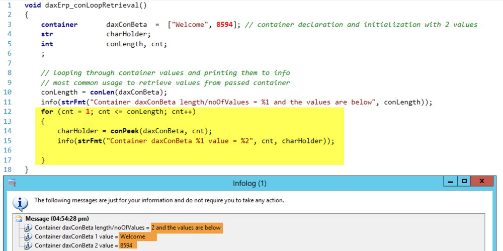 Dynamics AX Container retrieval example