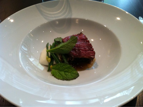 "Sansho Roasted Pasture Fed Angus Tenderloin, Braised Short Rib, Buffalo Milk ""Tofu""', Roasted Quinoa, Garlic Flowers"