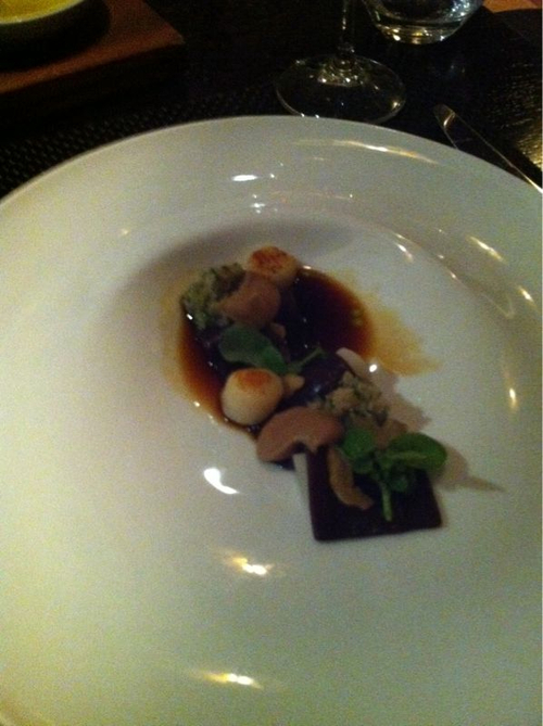 Cured Venison & Consomme with Salsify, Chestnut & Scallop w/ 2007 AN Negra Vit 'AN/2' Callet Montenegro Syrah, Mallorca Spain