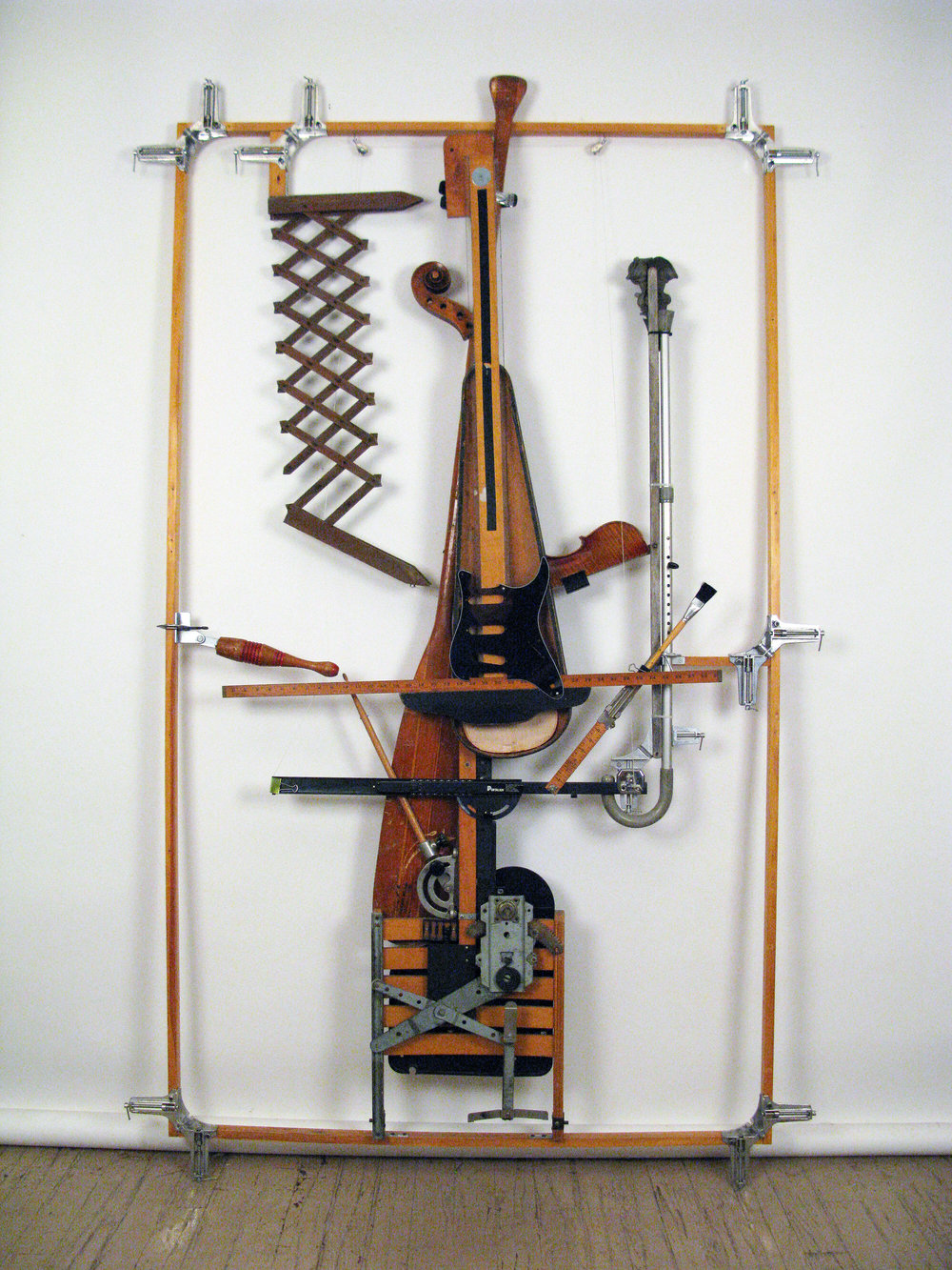 T-Square Yardstick Cello, assemblage (variable), 90x60x3, 2018