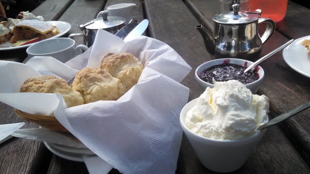 And of course tea, crumpets, Devonshire cream and fresh blackberry jelly.