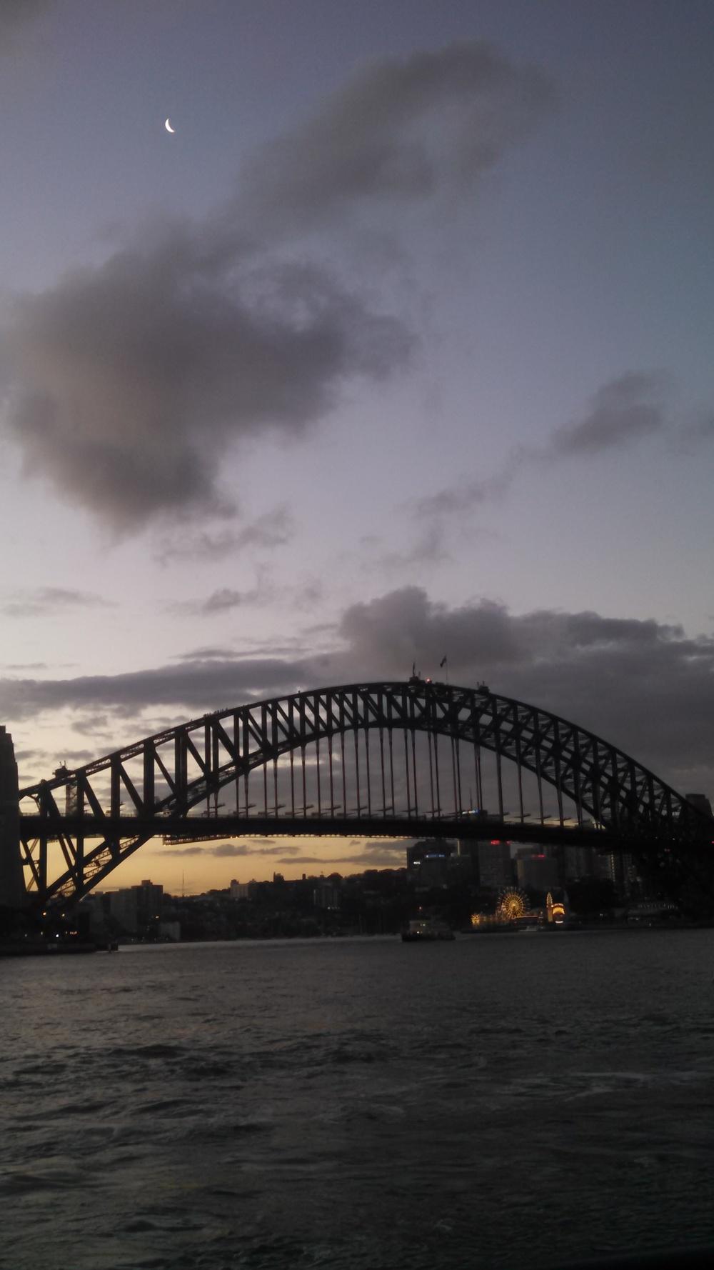 Sydney at dusk- note the light-up Luna Park in the distance.