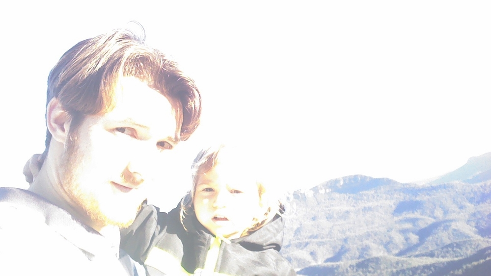 Noah and Bryan on the edge of a cliff- we soon discovered the village of Leura to end in a sheer drop-off.