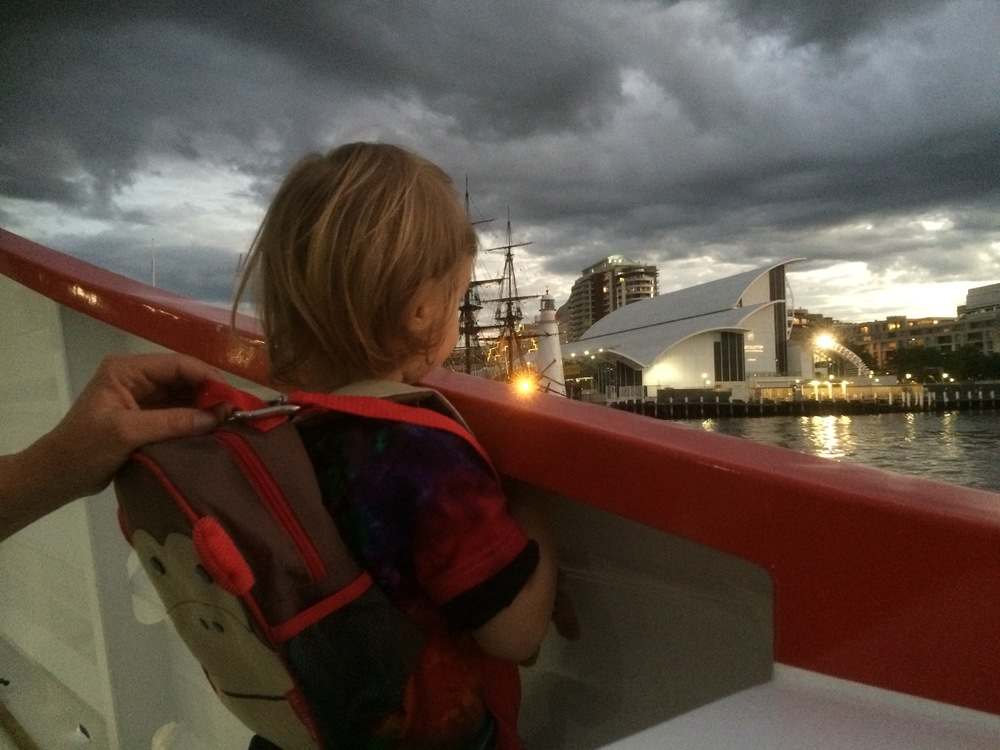 Gathering gloom as we return to the Circular Quay.
