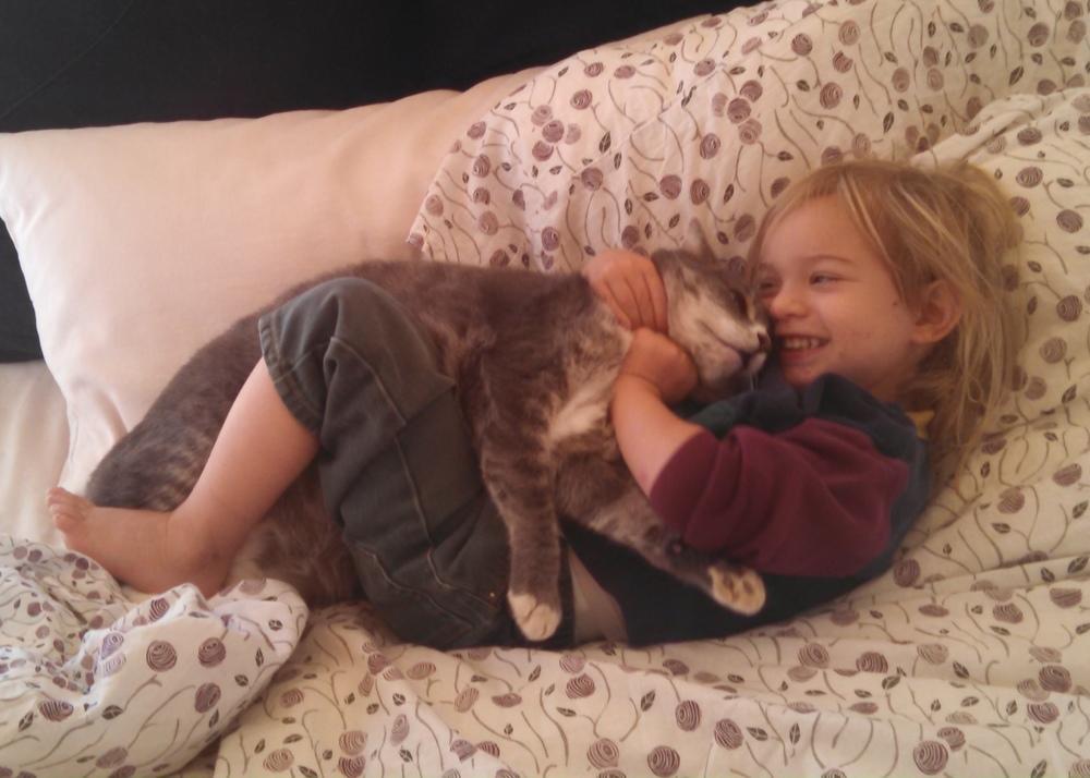 Noah giving Sheba a hug, November 2015.