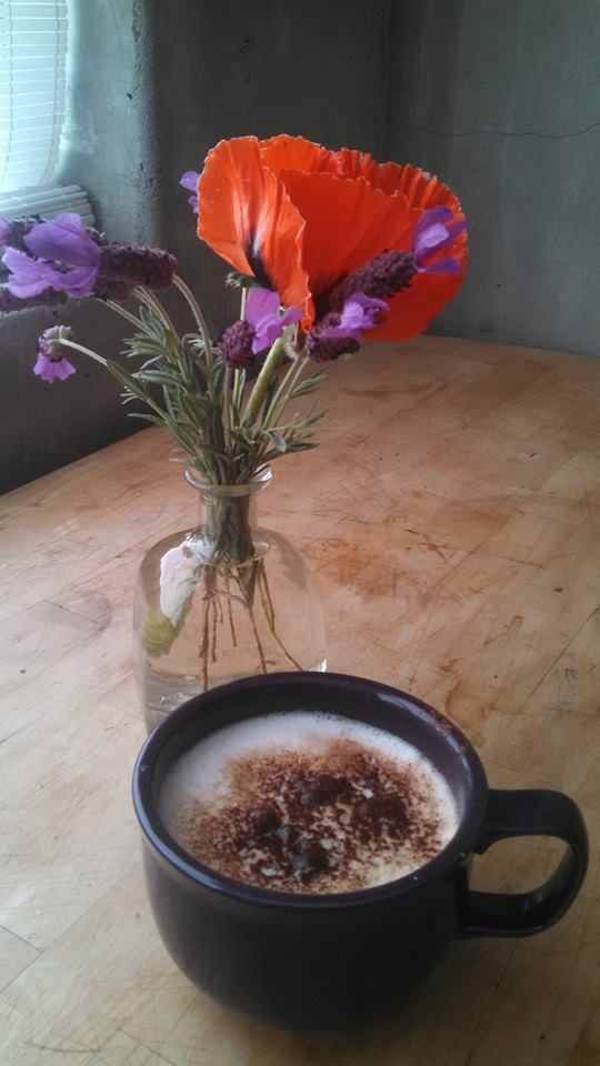 My birthday latte and early May bouquet. May 1, 2015.