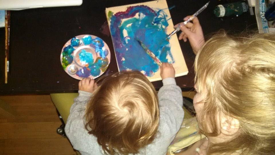 Noah and I painting in vivid blues. January- March 2015.