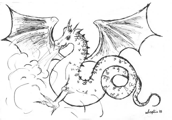 Faery-Tale Dragon BW