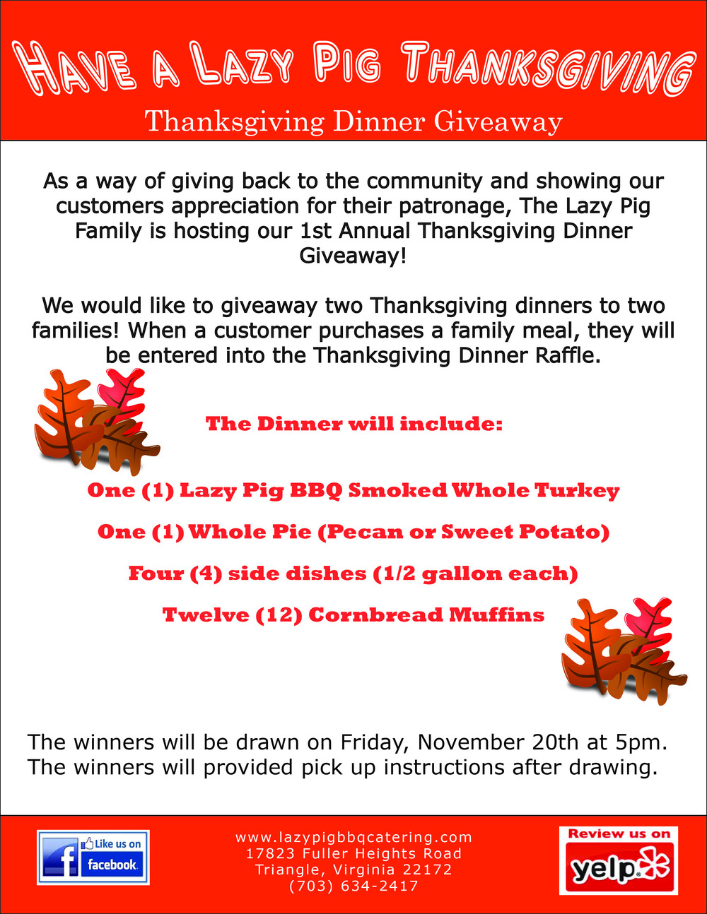 Thanksgiving Dinner Giveaway Flyer