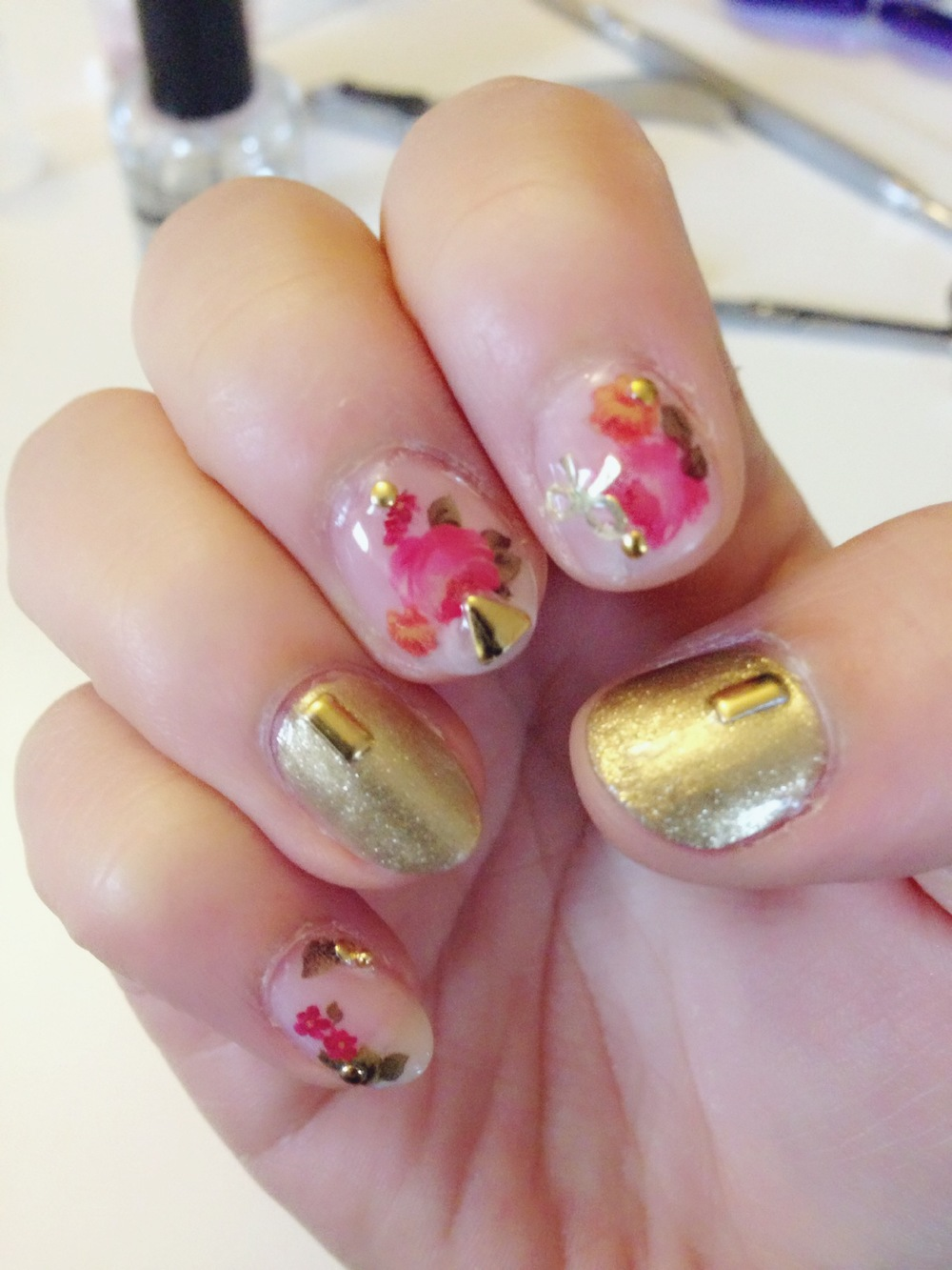 Water Decal Rose Nails