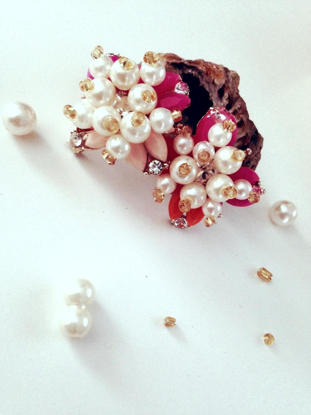Pearl & Neon Crystal Studs