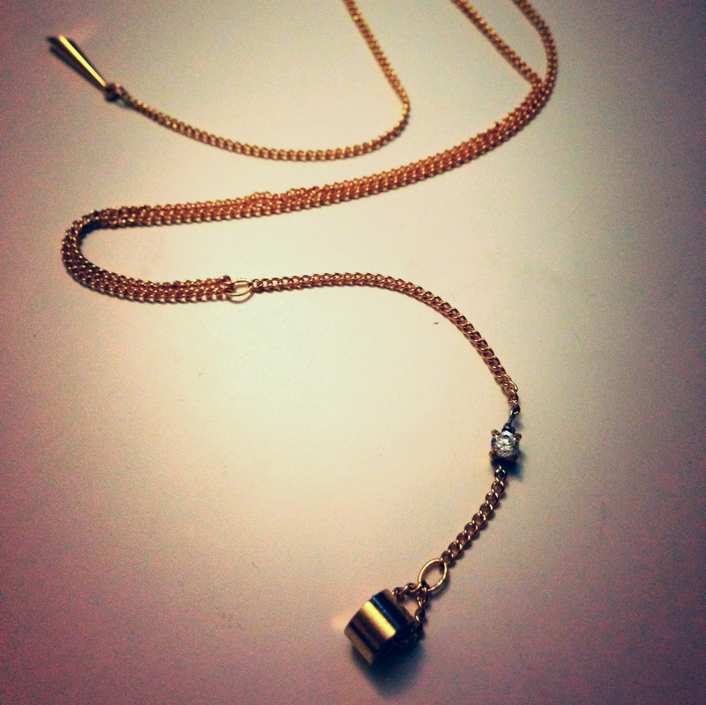 Raw Brass Drop Necklace