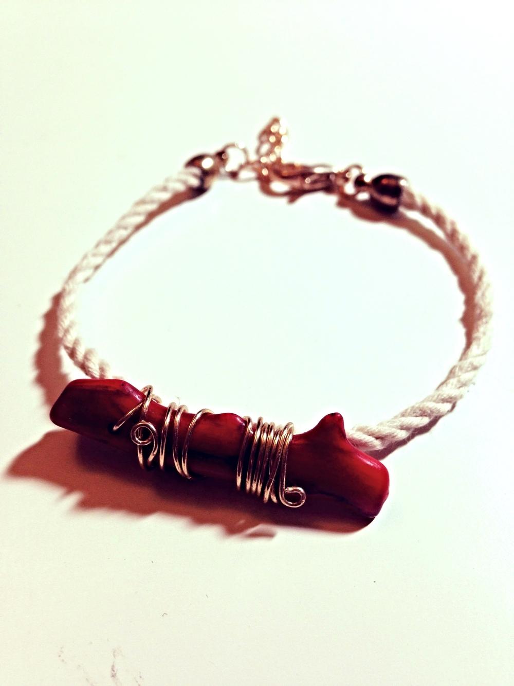 Coral Cord Bracelet