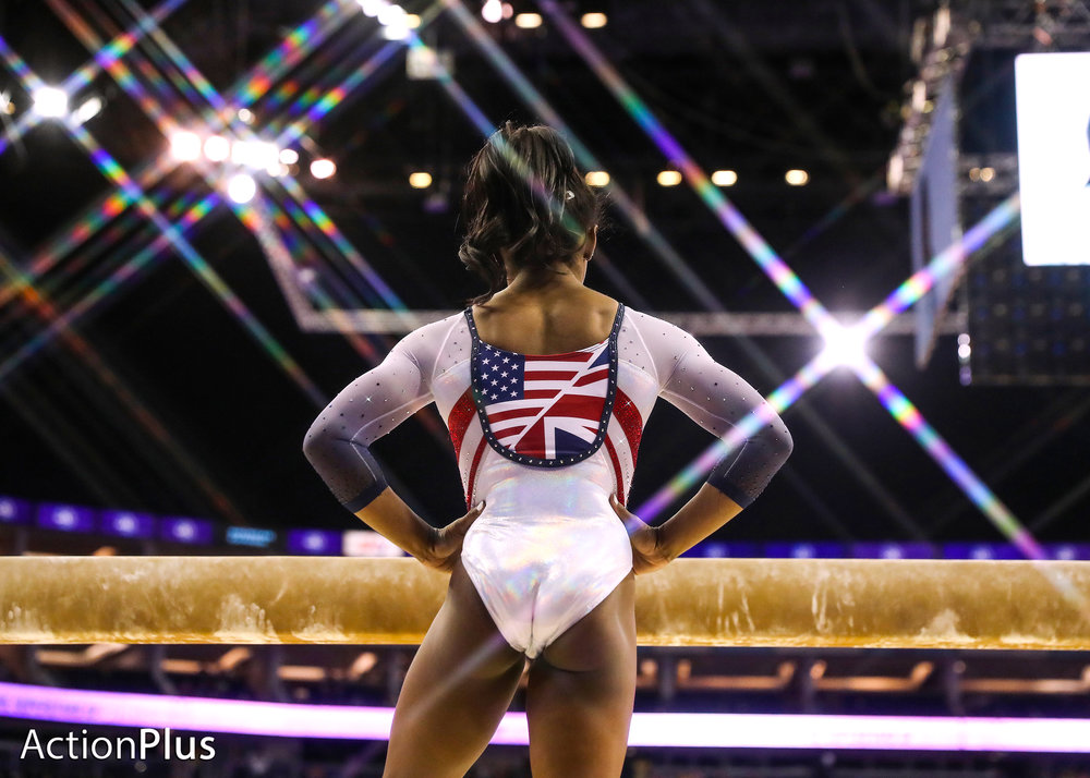 Simone Biles of USA get's ready to perform on the beam.