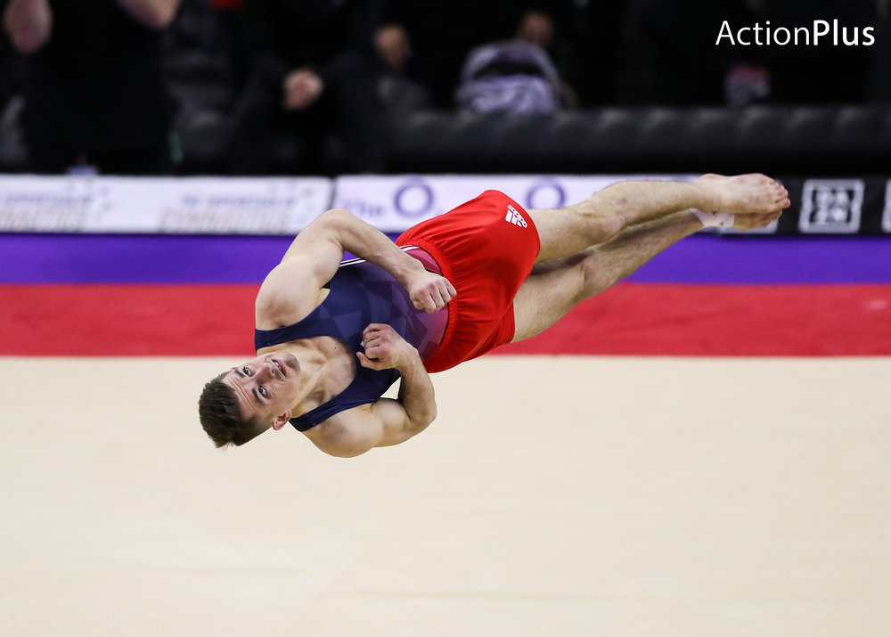 Max Whitlock MBE of Great Britain performing the floor.