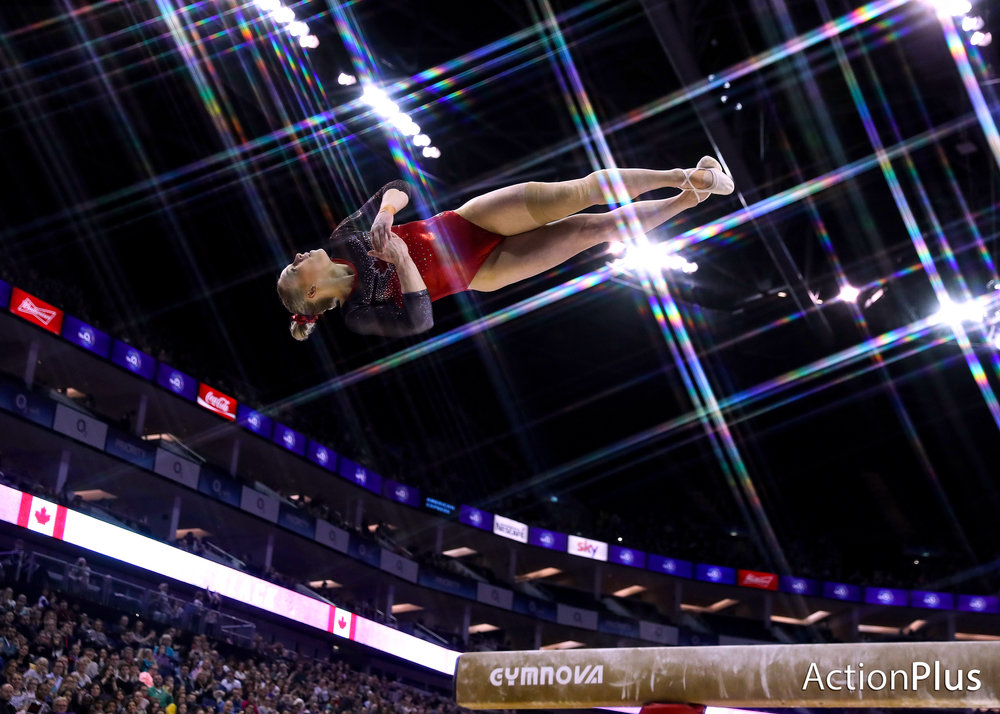 Ellie Black of Canada performing on the beam.