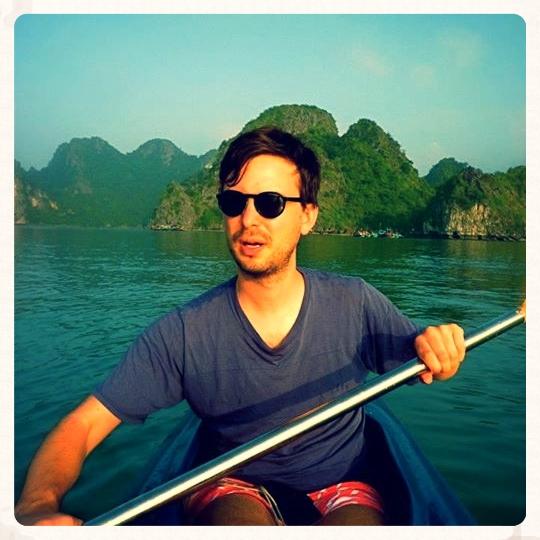 Kayaking in Vietnam. Tom in heroic mode.