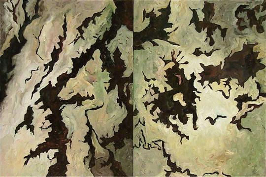 "Night Three   diptych   oil on canvas panel   16"" x 24""   2005"
